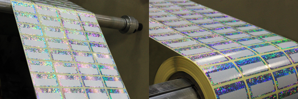 Etiquettes printing team producing holographic labels for Venture Photography