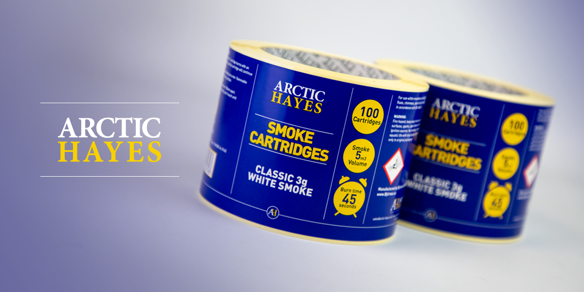 Smoke Cartridges for Arctic Hayes - printed self-adhesive labels on a roll, professionally printed by Etiquette Labels