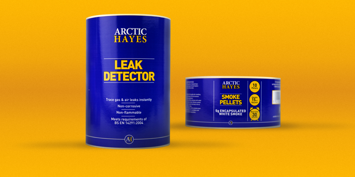 Leak Detector Labels and Smoke Pellets Labels. Rich, deep blue colour. Produced by Etiquette Labels, UK Experts in Labels and Labelling