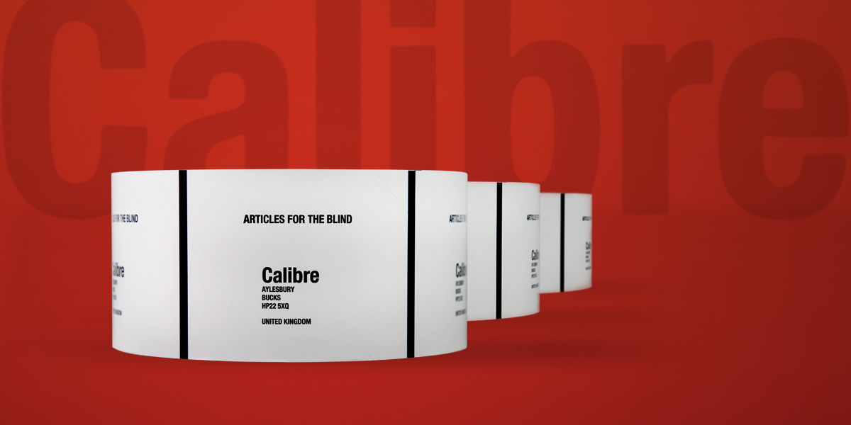Crate Cards for Calibre Audio Library - produced by Etiquette Labels, UK Experts in Labels and Labelling