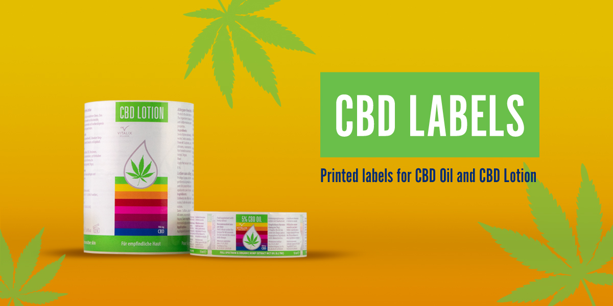 CBD Oil and Lotion Labels - custom printed digital labels on a roll, synthetic, self-adhesive. produced by Etiquette Labels