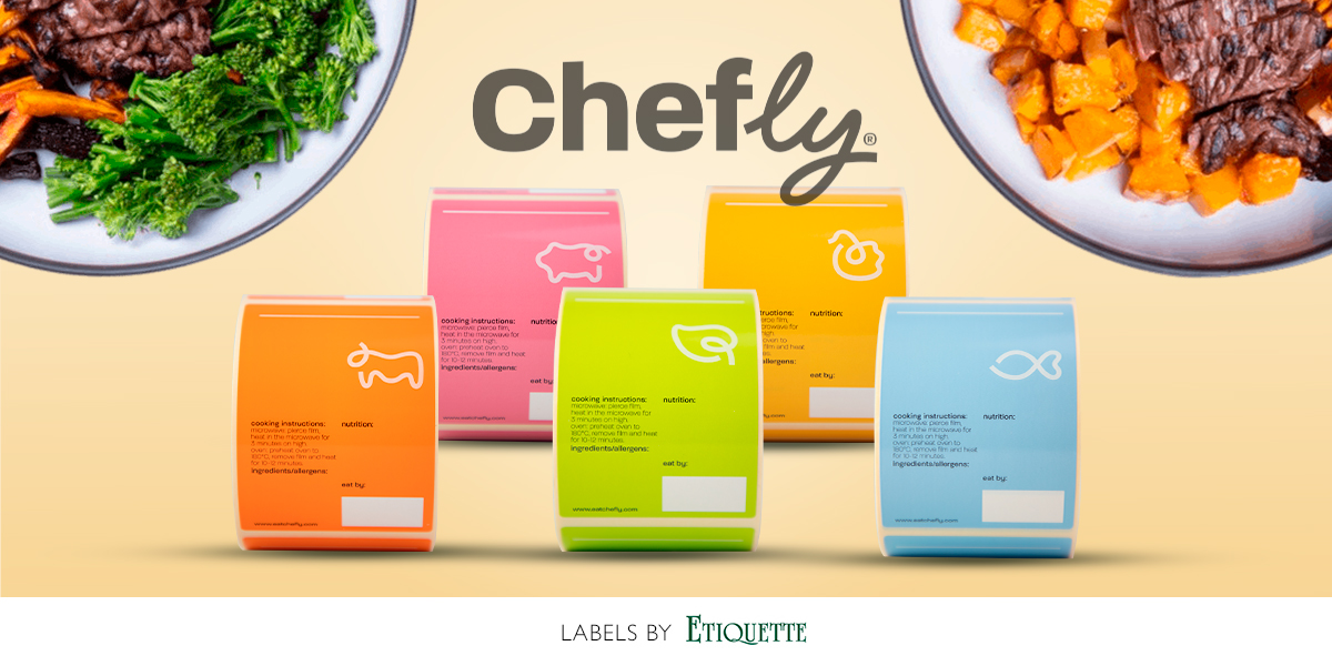 New self adhesive printed labels for Chefly. Sticky labels by Etiquette.