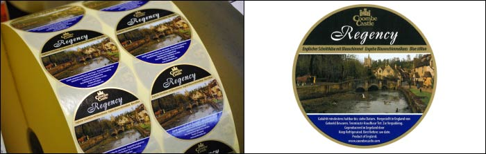 Coombe Castle Regency Cheese printed labels