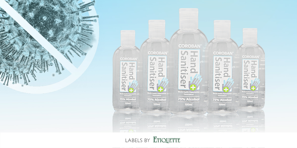 Synthetic Printed Labels for hand sanitiser by Etiquette Labels