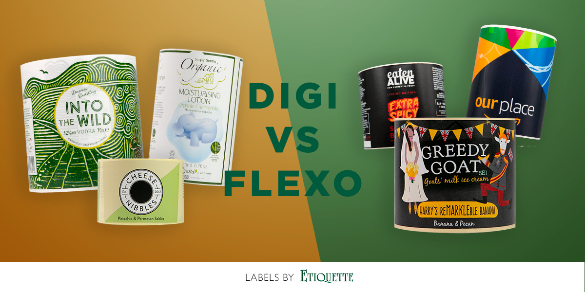 Digital printing method and flexographic printing method comparison