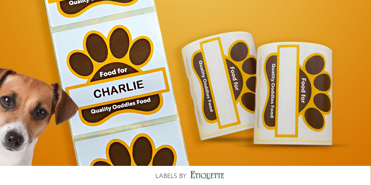 Custom printed self-adhesive labels for personalised dog food bags.