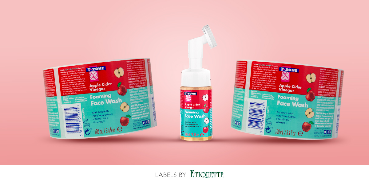 Self adhesive labels for plastic bottles, for face wash from T-zone