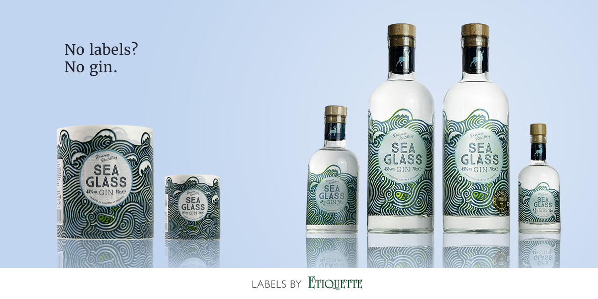 Self-adhesive gin labels, printed on clear synthetic material with a matt finish