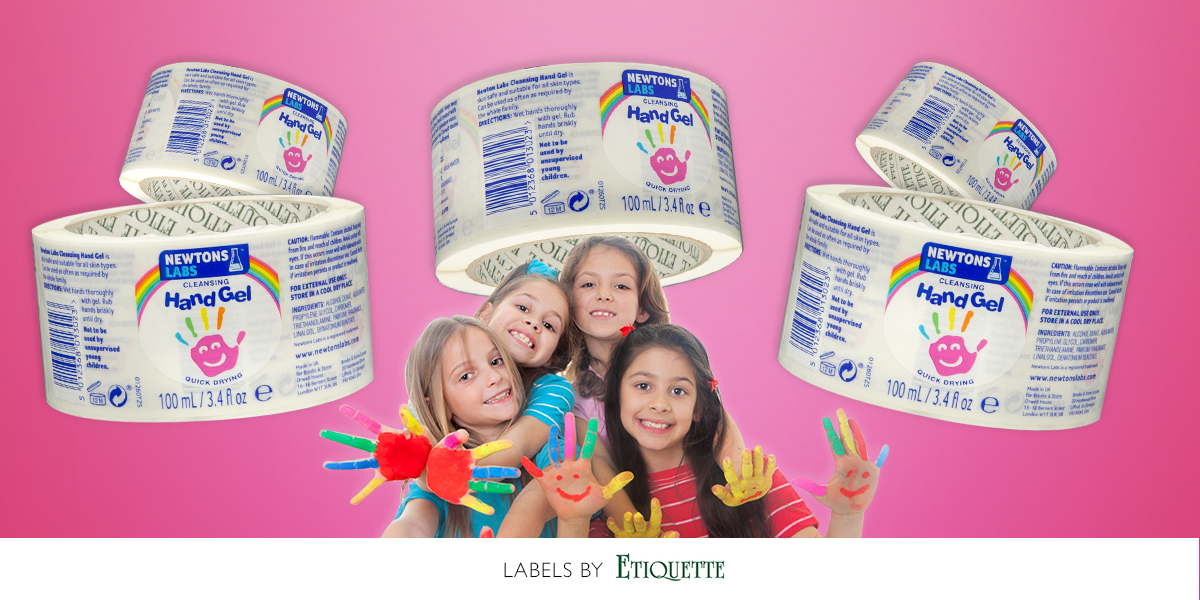 Hand gel for kids printed self-adhesive labels by Etiquette Labels