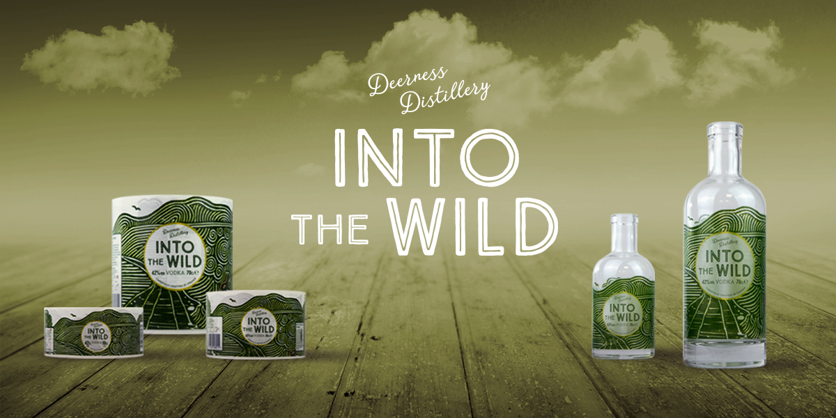 Into the Wild Vodka Labels for Dearness Distillery. Special shaped, self-adhesive, synthetic labels with matt finish professionally printed by Etiquette Labels.