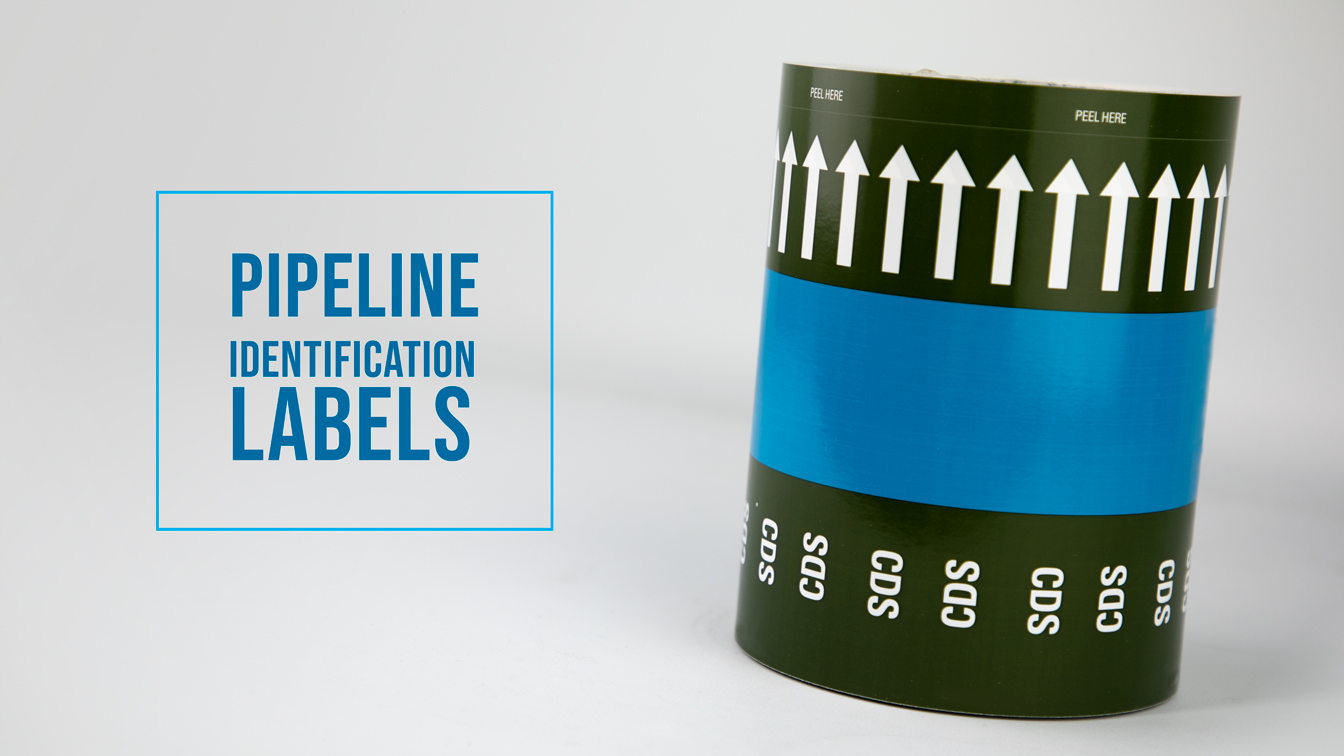 Pipeline Identification Labels - Etiquette Labels can produce any type of labels, from paper to synthetic, self-adhesive to crate cards.