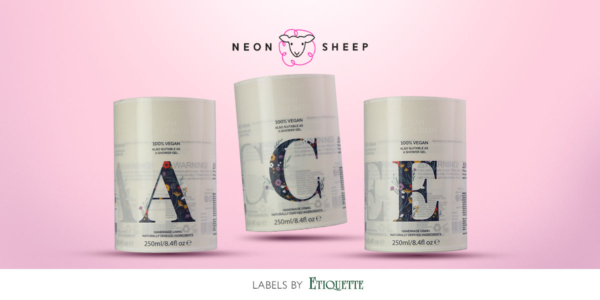 Digital Labels for Neon Sheep Shower Gel Bottle by Etiquette Labels