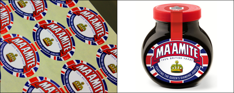 Etiquette printing team produce the latest Marmite special edition Jubilee Labels