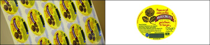 Marmite back side printed labels from the expert label printers