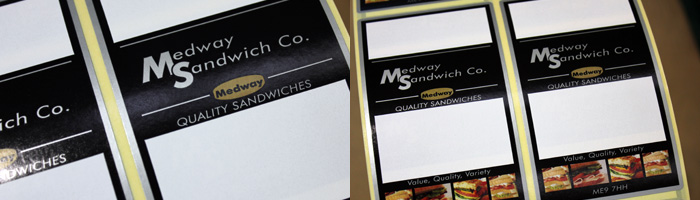 Printed labels for Medway Sandwich Co.