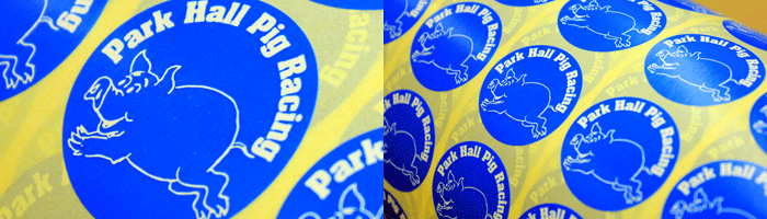 Printed labels for Park Hall Pig Racing
