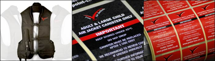 Etiquette supplies self adhesive labels for Point Two Air Jackets