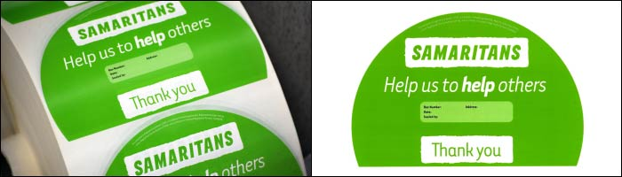 Etiquette produce printed labels for The Samaritans charity