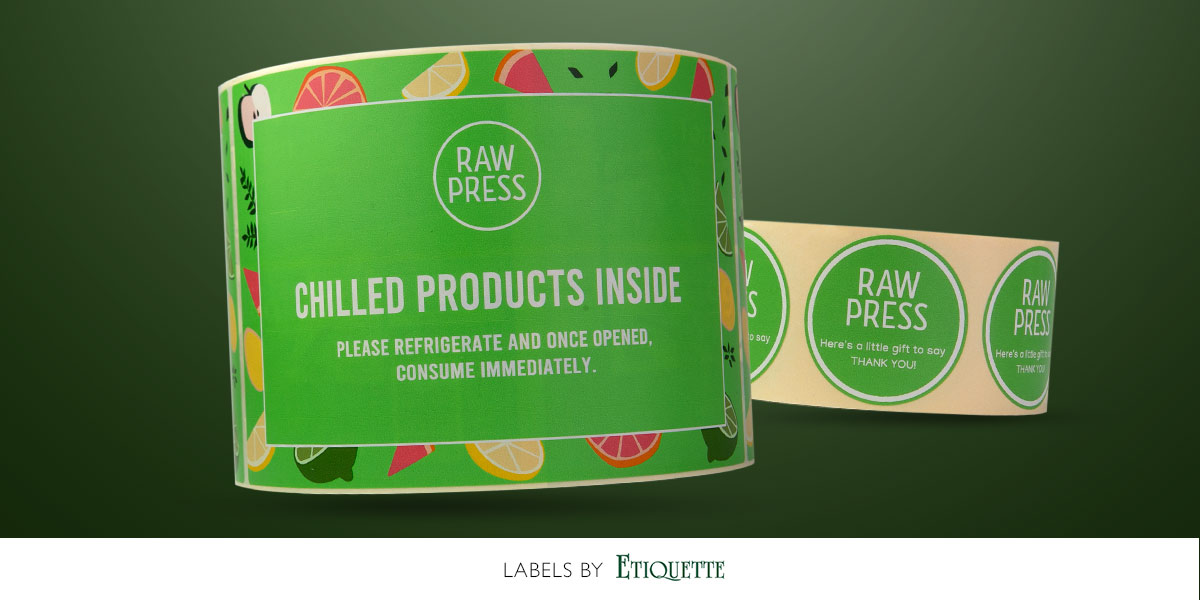 Digitally produced self-adhesive labels  for Raw Press