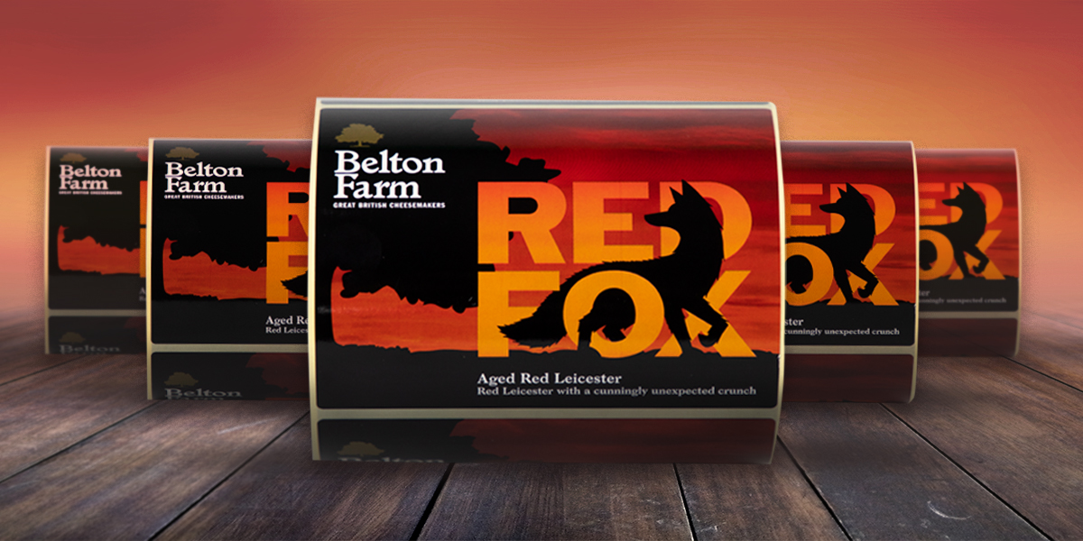 Red Fox Printed Labels for Belton farm. Self-adhesive printed labels for cheese packages professionally printed by Etiquette Labels
