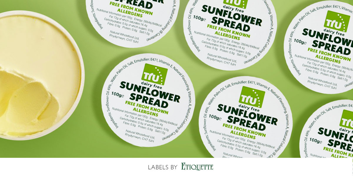 Sunflower spread self-adhesive labels, custom printed for Natural Wholefood