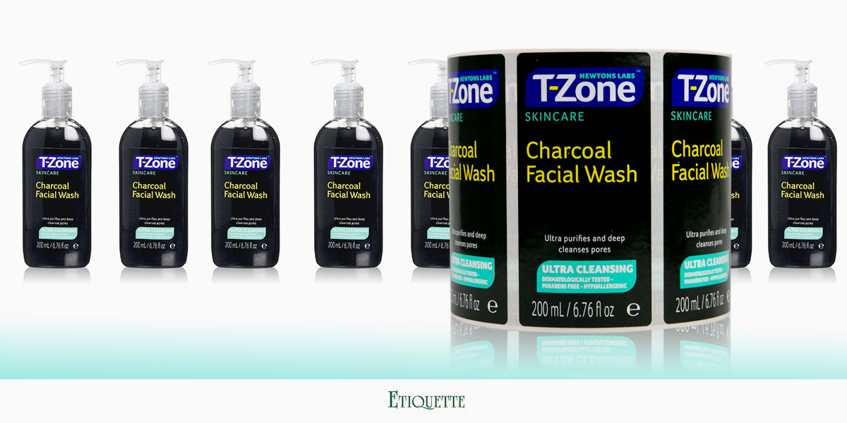 Professionally printed, self-adhesive labels on a roll, cosmetic labels for T-Zone Facial Wash