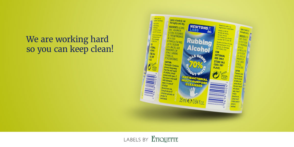 Printed, self-adhesive, synthetic labels for Rubbing Alcohol - Antibacterial Cleanser.