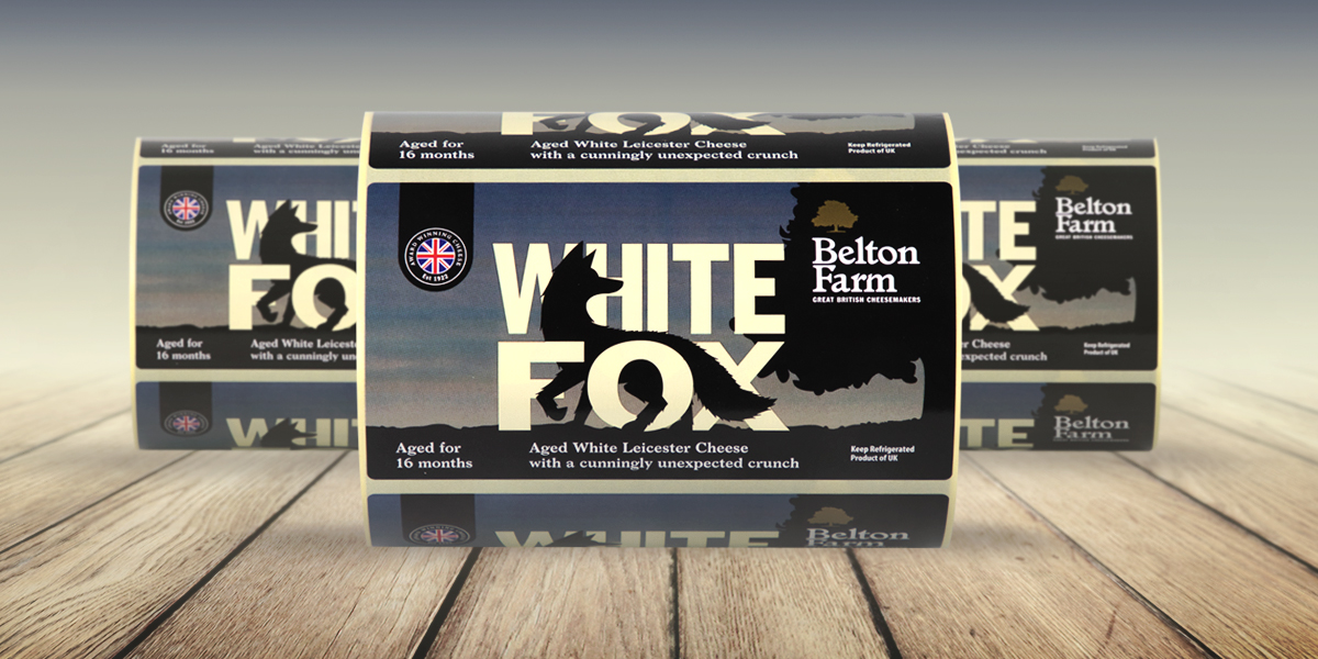 White Fox Cheese Labels for Belton Farm Great British Cheesemakers. Self-adhesive, printed labels produced by Etiquette Labels