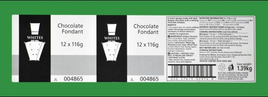 Printed Labels for White's Chocolate Fondant