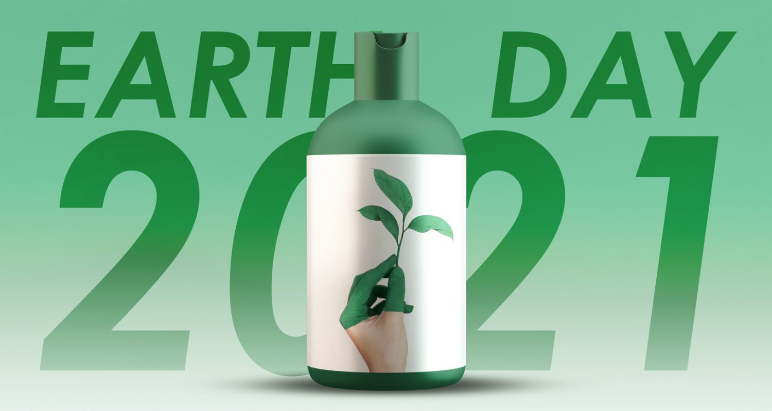 Earth Day Image - Bottle Label with a plant on it